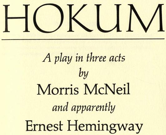 Ernest Hemingway: Hokum